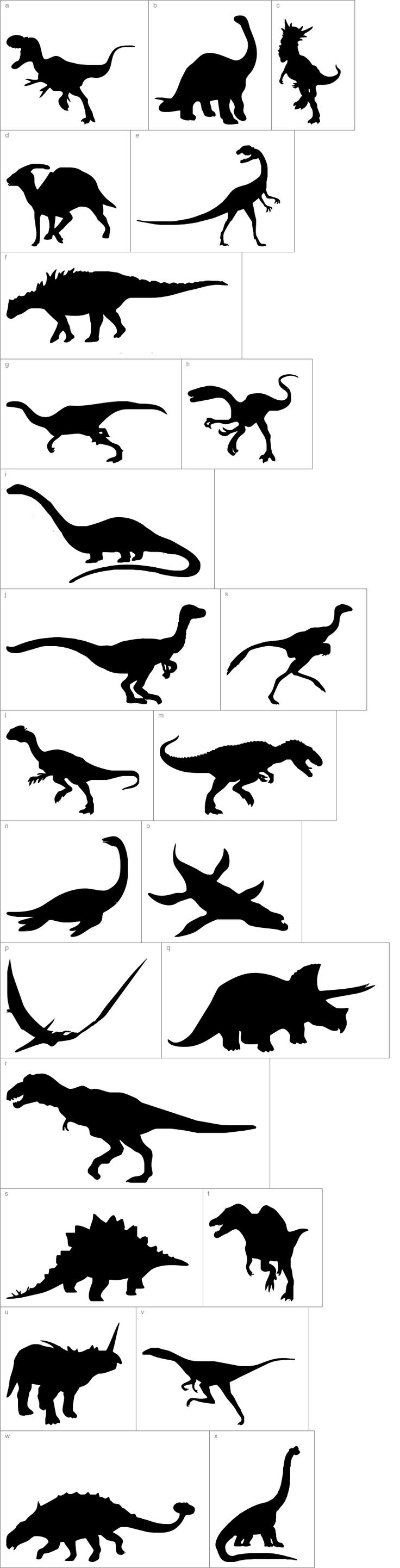 Dinosaur Dingbats Silhouettes Templates....Great for a Boysroom or Dino Party!: