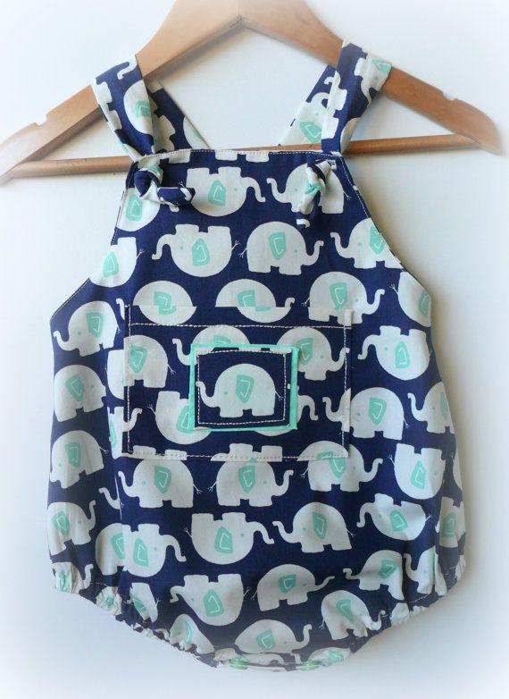 Baby Boy Romper  Elephants by LittleMacsClothing on Etsy, $35.00