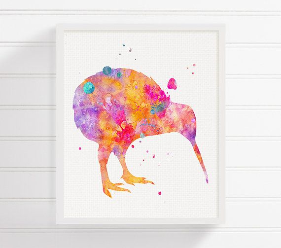 Kiwi Bird Art Print Watercolor Kiwi Bird Kiwi by MiaoMiaoDesign