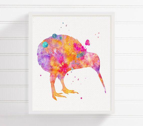 Kiwi Bird Art Print Watercolor Kiwi Bird Kiwi by MiaoMiaoDesign