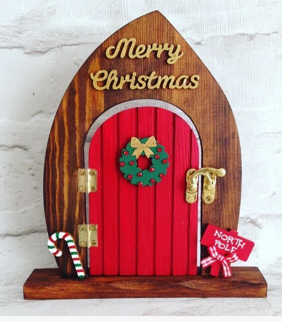 Freestanding magical christmas elf door fairy door for Elf fairy doors
