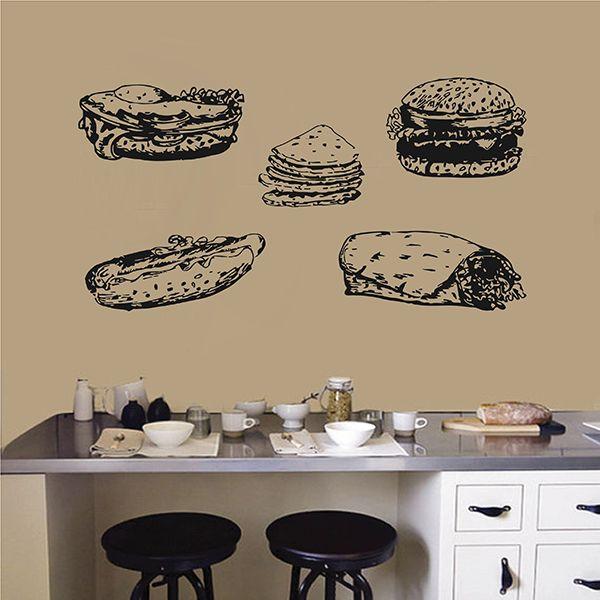 ik2812 Wall Decal Sticker set hot dog restaurant burger cheeseburger diner fast food