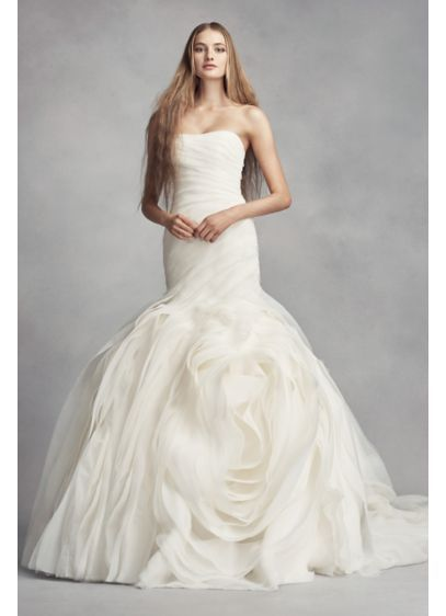 White by Vera Wang Bias-Tier Trumpet Wedding Dress VW351395