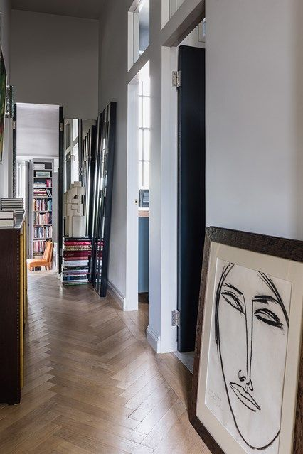Hall - Maximising light and space was key to decorating this post-war Pimlico flat - real homes on HOUSE by House & Garden.