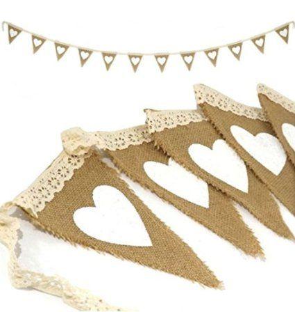 PsmGoods® Vintage Cuore iuta della tela da Bunting Banner dell'Assia Flag per decorazione della festa nuziale del merletto bianco 3m