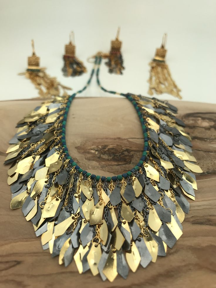 Helen of Troy Fringe Necklace and Earrings turquoise stone silver &goldplated