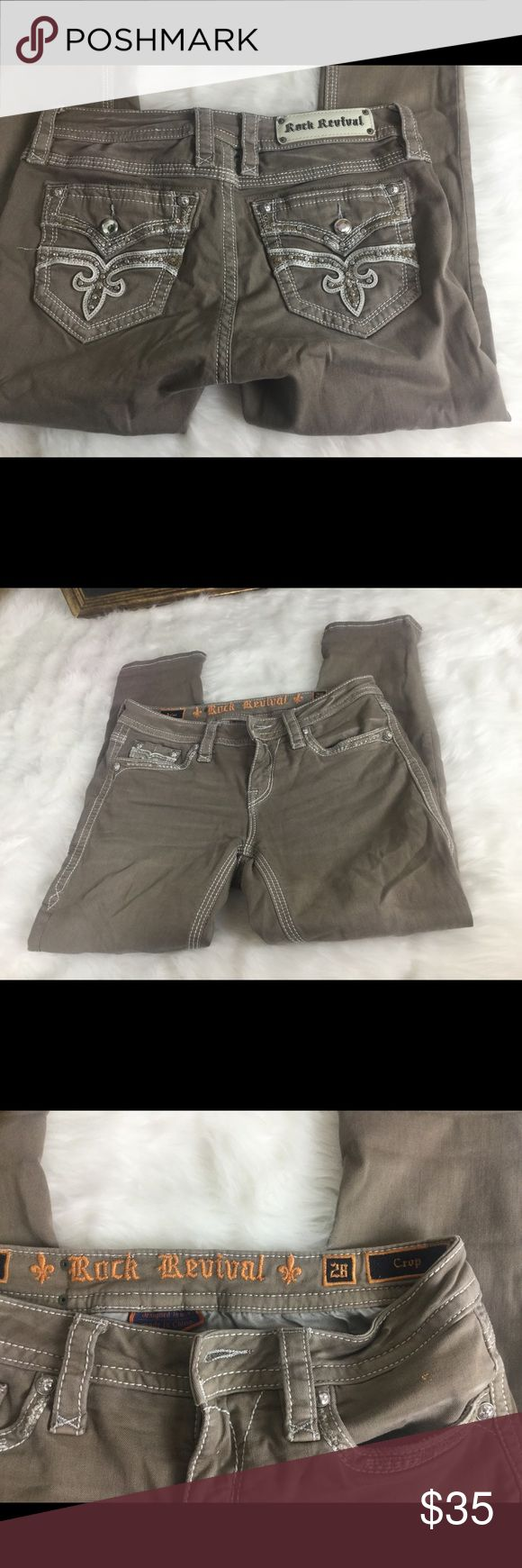 """🆕Listing. Rock Revival Cropped Kakis Jeans. sz 28 Check out these awesome Rock Revival Kakis Sz 28.  Waist 15"""". Inseam. 25"""". Rise 8"""". In good condition.  Great pants! Rock Revival Pants Ankle & Cropped"""