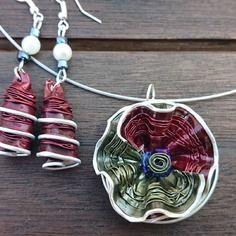 Bijoux parure collier boucles d'oreilles capsule café nespresso recyclé rouge et vert
