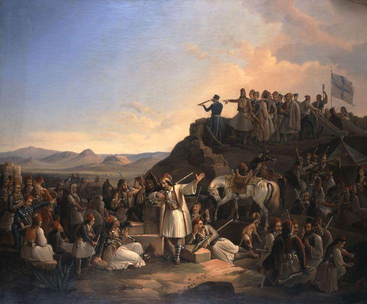 Θεόδωρος Βρυζάκης, Το στρατόπεδο του Καραϊσκάκη στην Καστέλα, 1855 Λάδι σε μουσαμά 145 εκ. x 178 εκ., Εθνική Πινακοθήκη-Μουσείο Αλεξάνδρου Σούτζου.
