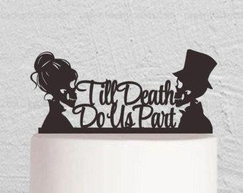 Wedding cake topper   Etsy   till death do us part   dia de los muertos
