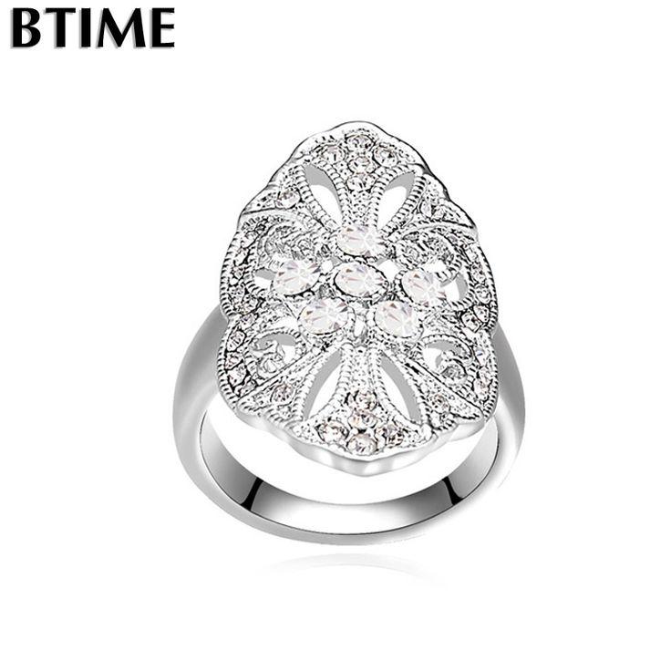 Goedkope Btime Europese Stijl Mode Gemaakt met Crystal van swarovski Bloem Ringen voor Vrouwen Verlovingsring Bruiloft Fijne Sieraden, koop Kwaliteit ringen rechtstreeks van Leveranciers van China:    &nb