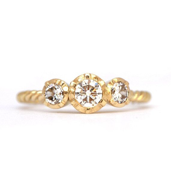 Trilogy ring - conflict free diamond - 18ct yellow gold - vintage style setting - made to order    Three beautiful clear white diamonds are set as