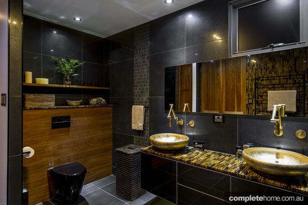 Bathroom With Black Toilet And Gold Basins | Bathrooms | Pinterest | Black  Toilet And Toilet