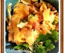 Creamy mustard chicken spaghetti with bacon and peas | Official Thermomix Recipe Community