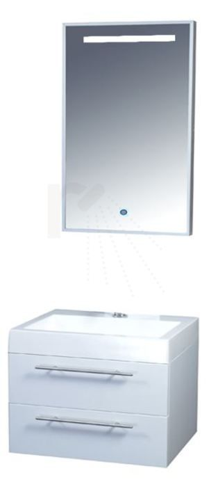 € 449,- Lambini Designs Budget Badmeubel - Hoogglans wit - mineraalmarmer - 1 kraangat - 60cm (B) - 46cm (D) incl. spiegel met verlichting. #spiegel #verlichting #meubel #badkamer #compleet #aanbieding