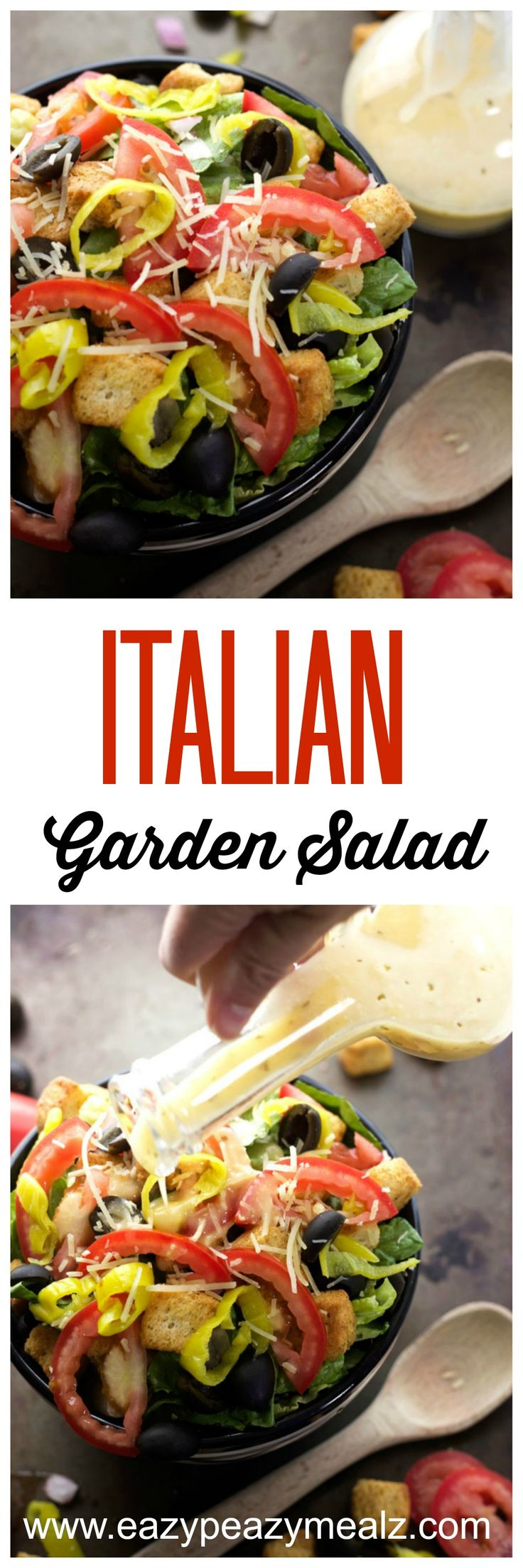 Italian Garden Salad- An easy throw together salad packed with flavor and ideal as a side for Digiorno Pizza #YouBeTheJudge #DiGiorno #CleverGirls #ad - Eazy Peazy Mealz