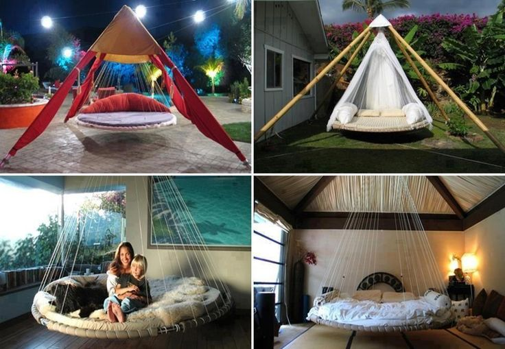 Recycled Trampoline Hanging Bed! • Turn those old backyard trampolines into luxurious Hanging Garden Beds!