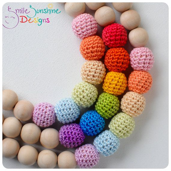 Crochet Bead and Wood Teething Necklace or Nursing Necklace - Soft, Snuggly and Chewable - Rainbow Shine