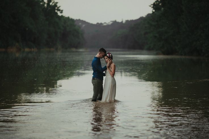Intimate anniversary session - river photos - couple in water - St. Louis Engagement Photography - Charis Rowland Photography - creative photos - artistic photography - woodsy - romantic - modern - intimate - nature inspired