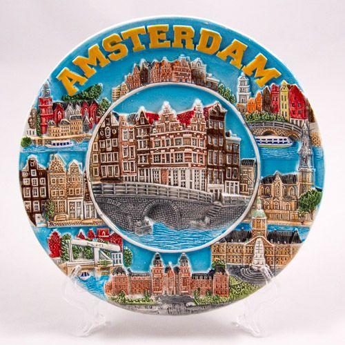 Souvenir Plate: Netherlands. Amsterdam Main Sights. Collage (Ceramics, Diameter 19 cm)