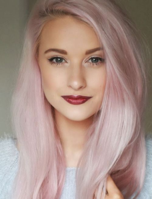 light pink hairdo