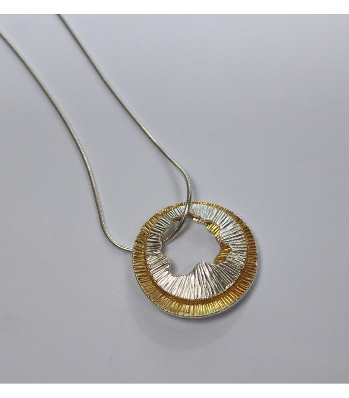 Double Shell Pendant (Small) - Sterling Silver & 22ct Gold. - The Cat and the Moon