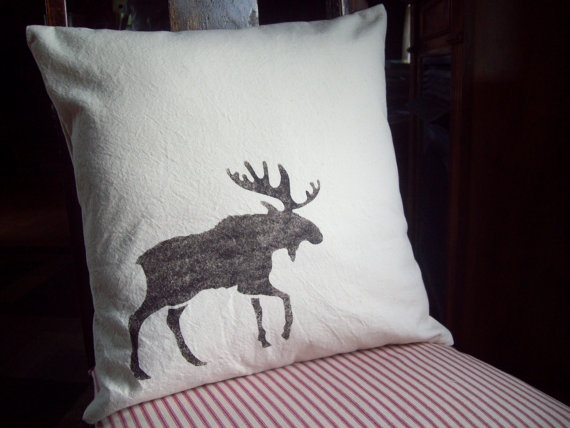 Moose Decorative Pillow Cover Stenciled by NorthCountryComforts, $24.00