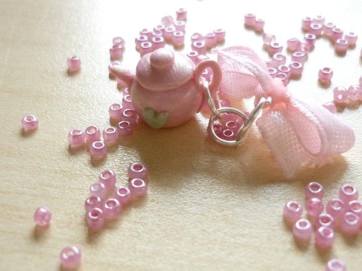 teapot, pink, charm, handmade