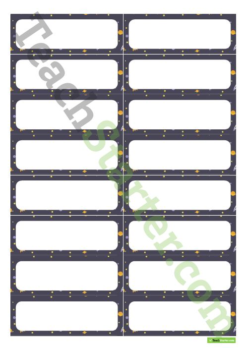 Desk Name Tags – Space Pattern Teaching Resource