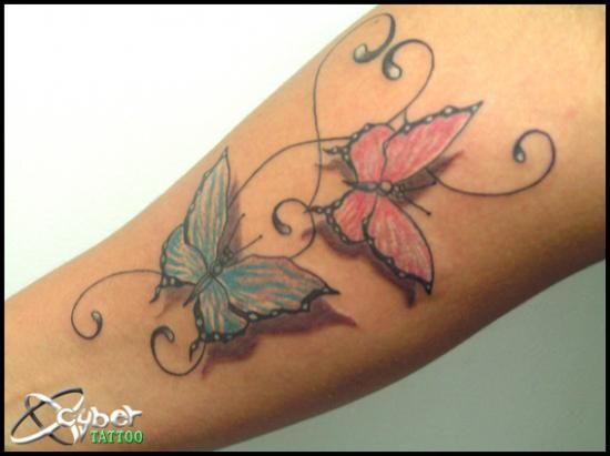 most beautiful butterfly tattoos for women | Two butterflies leg tattoo