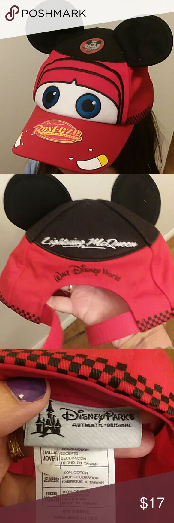 Adorable hat! Adorable Lightning McQueen hat with Mickey Mouse ears. Adjustable with velcro strap. Straight from Disney World! Disney Other