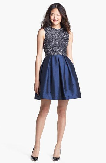 ML Monique Lhuillier Embellished Fit & Flare Dress available at #Nordstrom