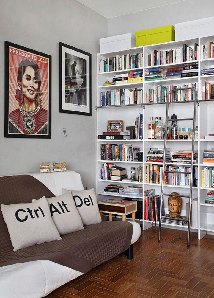 Decoração de: Sala de estar; estante alta; Casa de Valentina