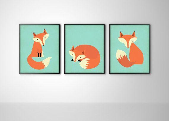 Wall Decor Etsy : Foxes set of three fox art print posters nursery