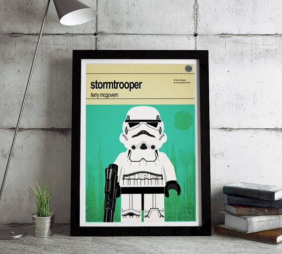 "Lego Star Wars print.   This is a stylish poster print of the Lego Star Wars stormtrooper character, fit to grace any man cave or children's bedroom. Hand drawn with a graphics tablet and pen this print is styled with typography and features the actor who voiced the infamous line in the original Star Wars, ""these aren't the droids we're looking for"". It also features the Lego Starwars character abilities."