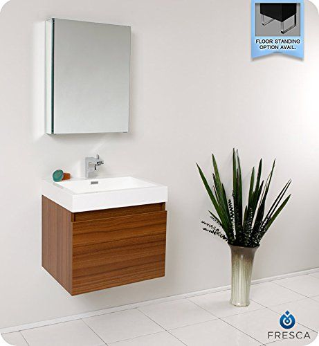 Photographic Gallery Fresca Nano Small Wall Mount Teak Bathroom Vanity w Medicine Cabinet Faucet