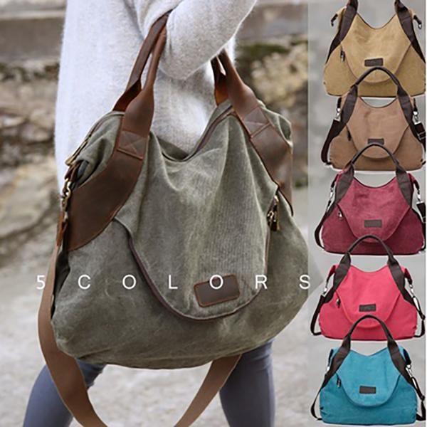 Coffee Womens Bags Handbags Women Canvas Vintage 3 Main Pockets Casual Handbag