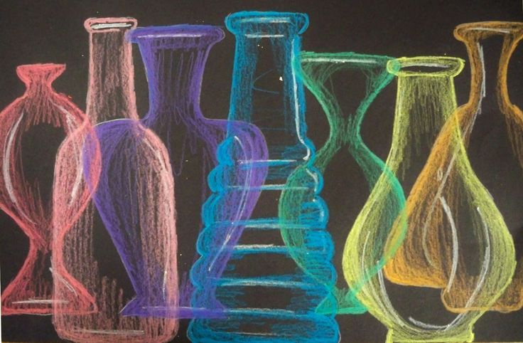 The Lost Sock : Rainbow Glass Still life. Website explains process. Need to create bottle templates to draw around. Use Watercolour pencils on white paper, or pastels on dark paper.