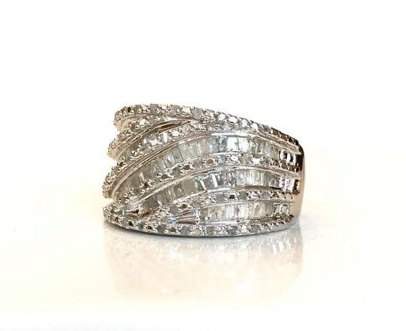 1 CT diamant argent massif bague 1 Carat Baguette & diamant