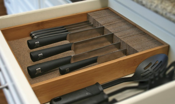 kitchen knife drawer organizer knifedock deluxe drawer knife block amp kitchen organizer 5288