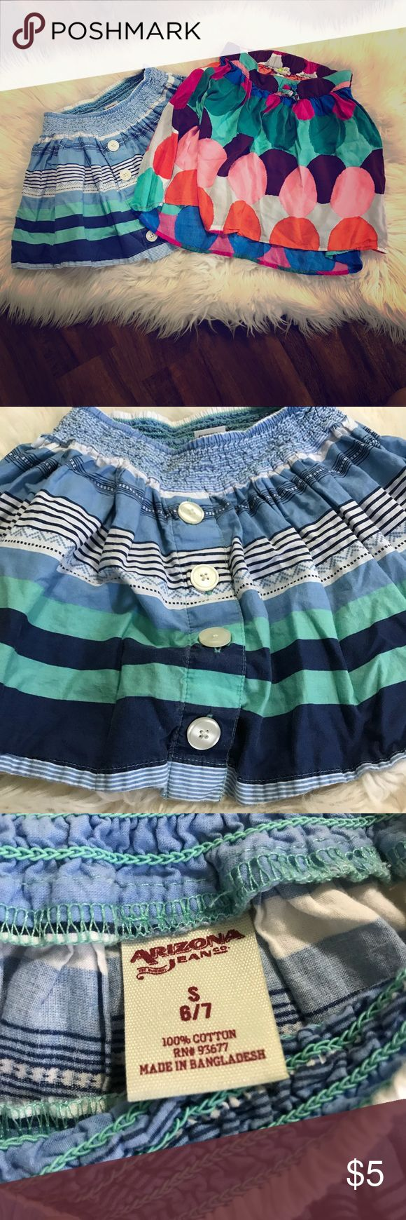 Girls Skirts ▪️striped skirt has four buttons for decorative purpose only down the front.  Arizona Jean company size 6/7 with elastic waistbands ▪️second is multi-colored skirt from crazy 8 also with elastic waistbands size 7/8 ▪️both are in excellent condition Bottoms Skirts
