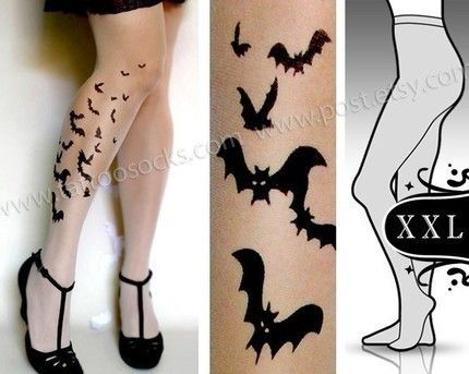 plus size XXL sexy BATS tattoo tights / stockings/ full length / pantyhose / nylons UltraPALE. $23.00, via Etsy.