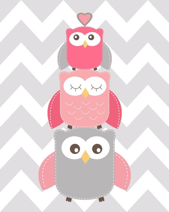 Nursery Quad Pink and Grey Nursery Owl Nursery Set by ChicWallArt