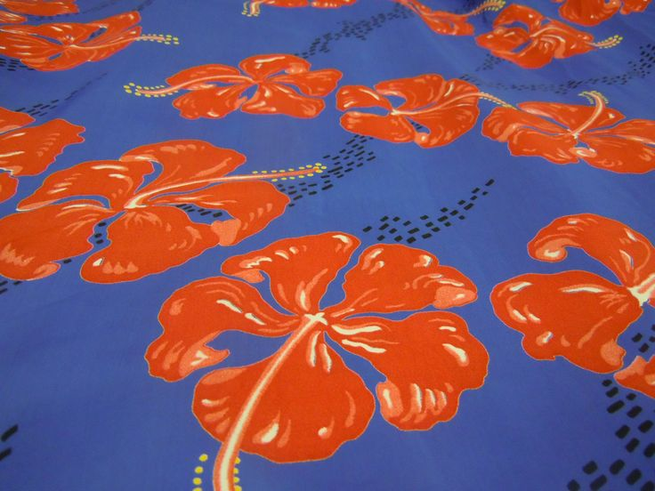 Blue Hawaiian Print Fabric, Red Tropical Fabric, Large Print Fabric  #462 by ReTHINKinIt on Etsy