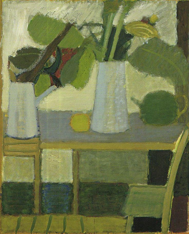 Artur Nacht-Samborski (1898-1974) Liście w białym wazonie na stole, ok. 1970