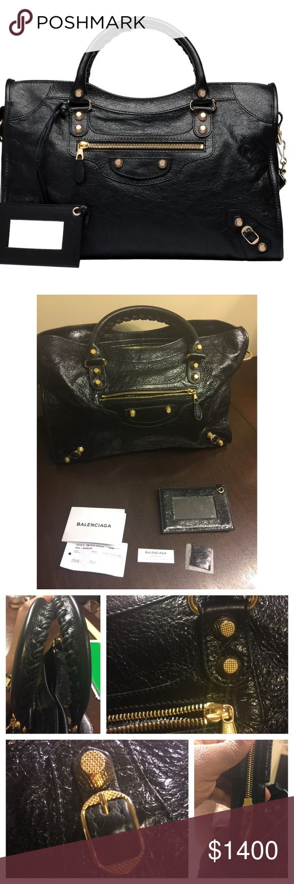 BALENCIAGA GIANT CITY!!! This is a BRAND NEW 12 GOLD BALENCIAGA GIANT CITY in black! Purchased in in July 2015 and never used ! 100% AUTHENTIC                          Leather Soft Lambskin Depth: 5.4 in Width: 14.8 in Height: 9.3 in  Hand Stitched Handles  Removable Shoulder Strap  Zip-top Closure  Gold Metal Finishes  Leather Zipper Zips on  Zipped Front Pocket  Interior Zip Pocket with Balenciaga Embossed Leather Tag  Double Inside Phone Compartment  Mirror with Frame in Leather…