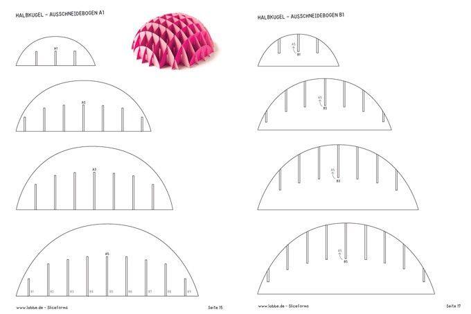 Sliceform Halbkugel - Ausschneidebögen