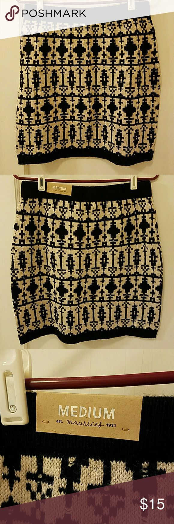 Aztec print skirt Never worn, new with tags, Aztec print  knit skirt with a light shimmer to the fabric. Size medium, slightly loose fitting. Maurices Skirts
