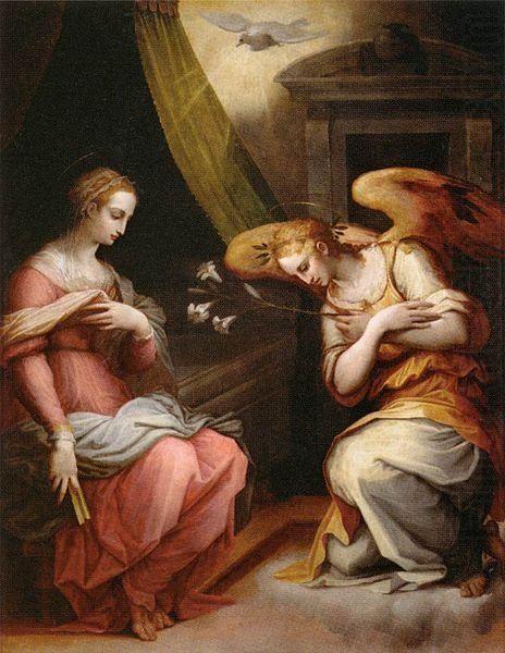 1564-1567, Giorgio Vasari:The Annuciation-Ареццо,1511-Флоренция, 1574,ВАЗАРИ ДЖОРДЖО Благовещение,Дерево,216х166 см. Происходит из церкви в Ареццо;в Лувр поступила в 1814.