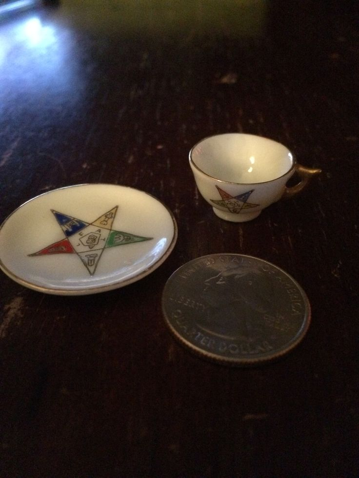 Best Christmas present 2014 (so far) miniature cup and saucer with the Eastern Star emblem on it.